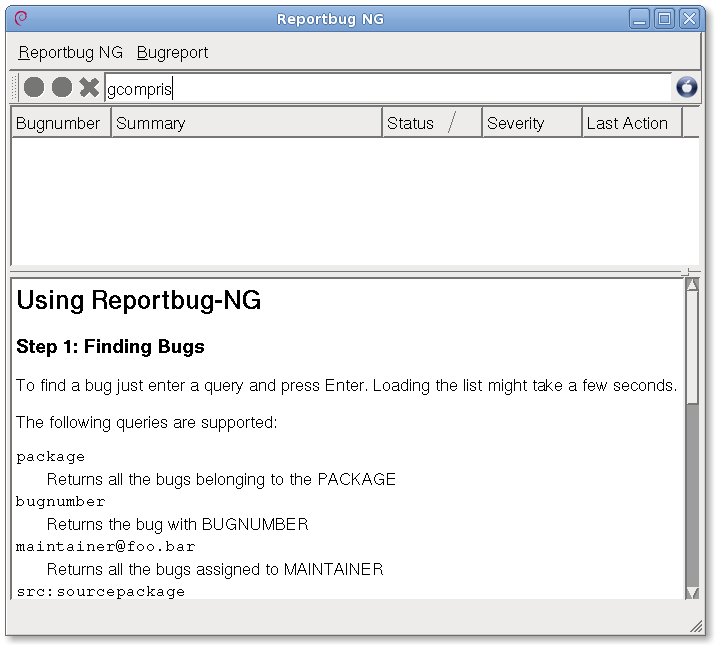 Reportbug-NG main window