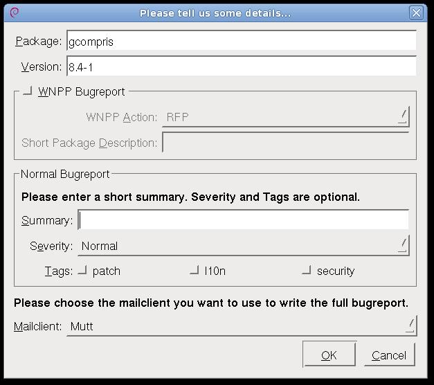 Reportbug-NG, new bug dialog