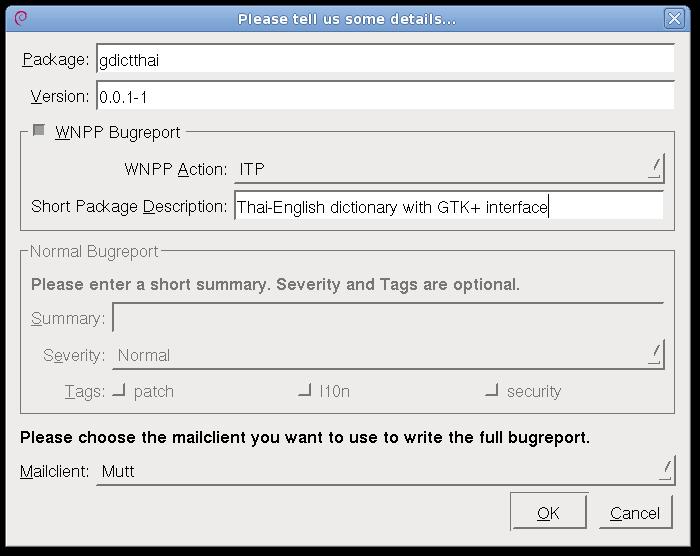 Reportbug-NG, wnpp bug dialog